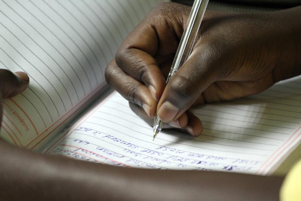 12 Writing hard.