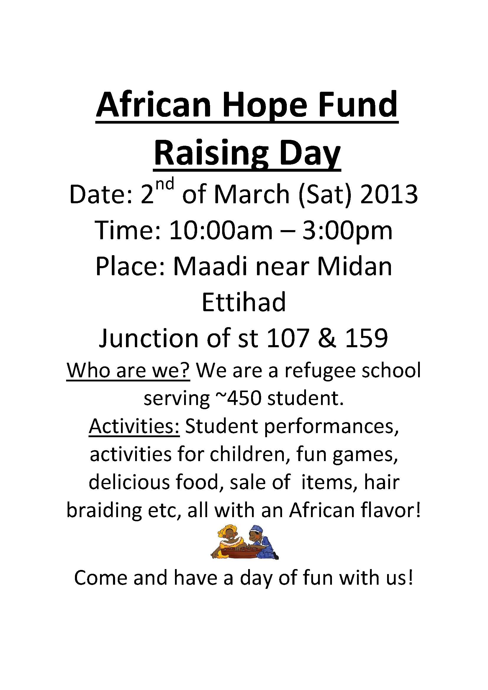 African Hope Fund Raising Day_2nd March A4 Advert